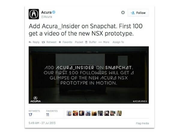 Acura-tweet-about-Snapchat