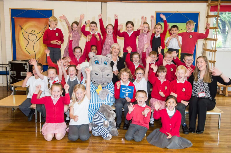 Childrens Author Anne Fine MBE with Silentnight Sleepy Stories winner Toby Hopson at Our Lady of Perpetual Help School in Doncaster