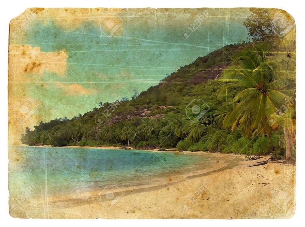 12056608-Indian-Ocean-landscape-Seychelles-Old-postcard-Isolated-on-white-background-Stock-Photo