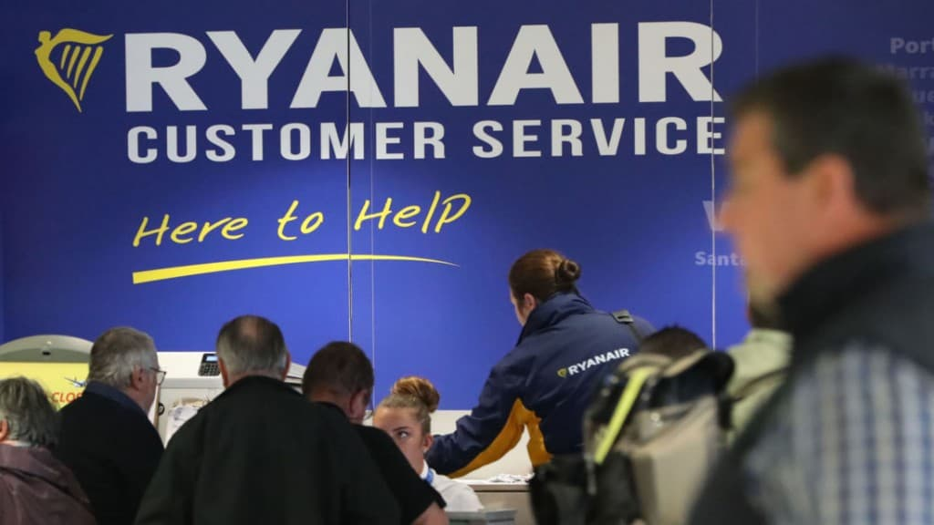 The Ryanair customer service desk at Dublin Airport, as the crisis over pilot shortages and warnings that crews are rejecting cash bonuses to commit to the airline will be addressed.