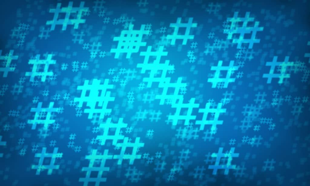 Blue hashtag random pattern background. Illustration.