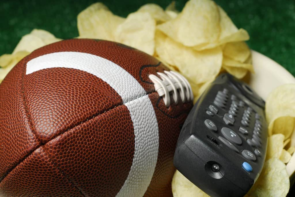 Football with Chip Bowl and TV Remote