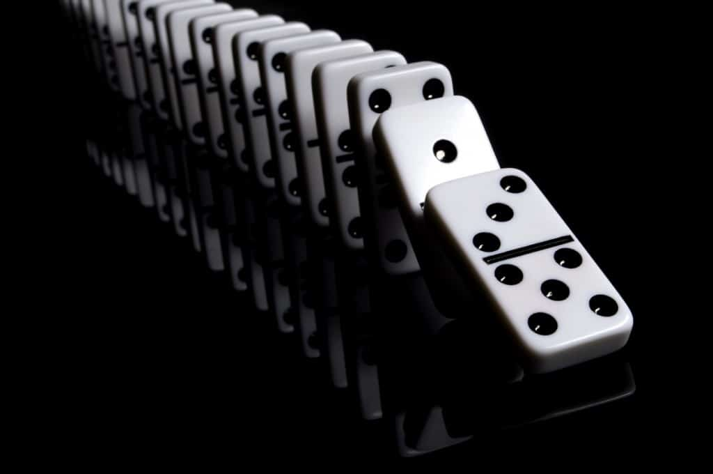"""""""White dominos on a reflective, black background. Other images in this series:"""""""