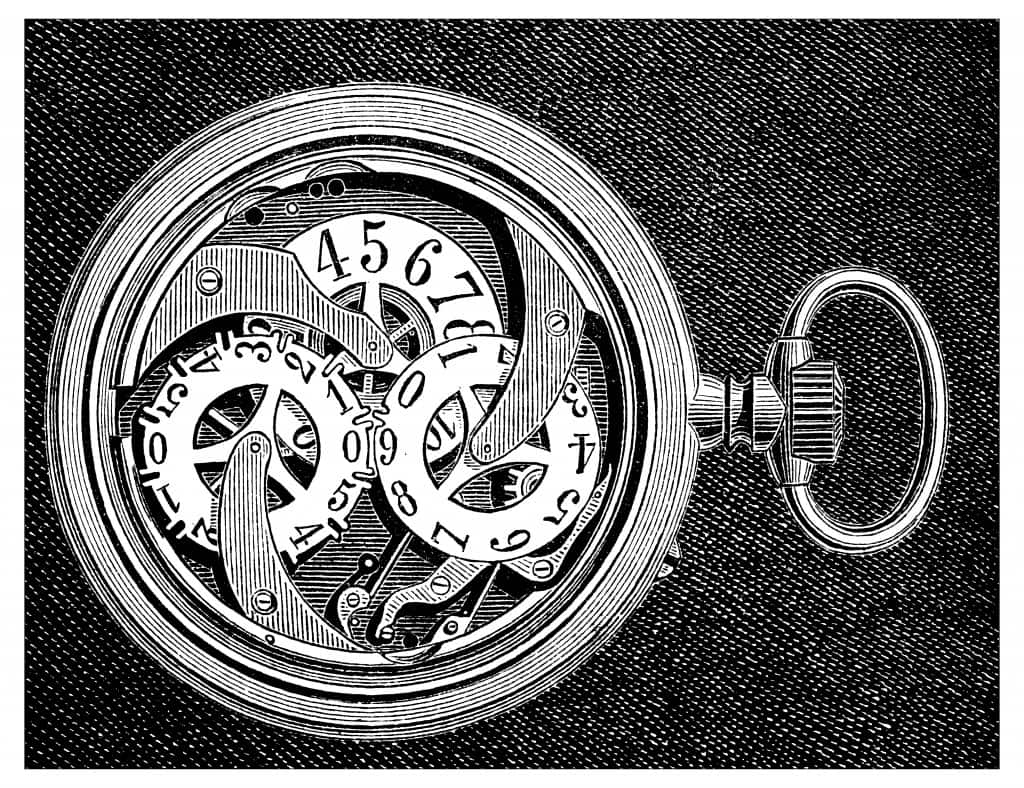 Antique engraving illustration: pocket watch clock